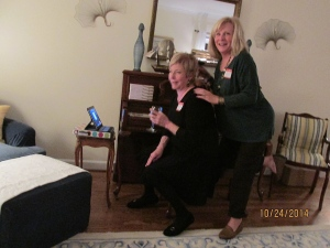 Donna and Debby talking to O.J. via Skype. Bless technology; it was so great to have her there.